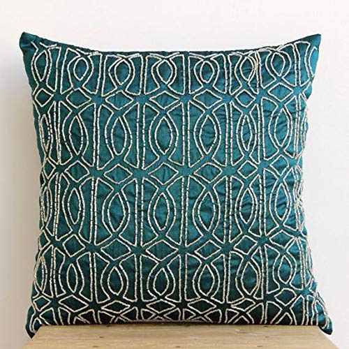 Luxury Royal Peacock Green Pillows Cover, Lattice Trellis Pillowcases, 16