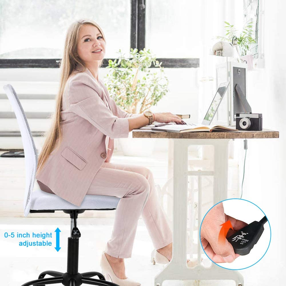 Ergonomic Office Chair Armless Home Office Chair Adjustable Computer Chair Task Rolling Swivel Chair Pink Desk Chair Drafting Chair for Working,Meeting,Reception Place Simple Mesh Office Chair