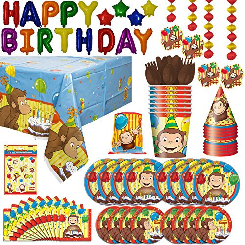 Curious George theme Party Supplies: Plates, Napkins, Table cover, Cups, Hats, Cutlery, Decorations, Banner, Loot Bags, Stickers, Balloon Happy Birthday Banner