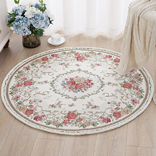 American Pastoral Round Jacquard Carpets, Bedroom Soft Round Area Rug - MAXYOYO Round Yoga Mat Ultra Soft Bedroom Study Soft Carpet Floor Mat, Diameter 63 - Address Gardens Mall