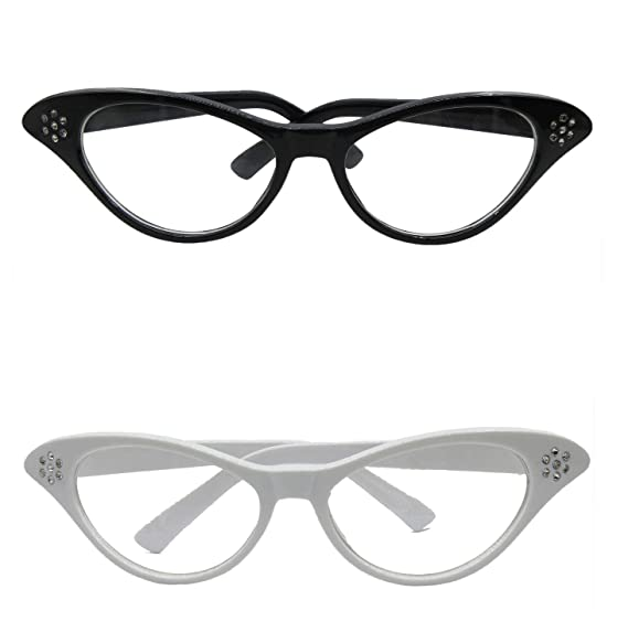 904703c53fb Vintageplace23 TDmall Black and White Vintage Cat Eye Glasses With  Rhinestones 50s 2 Pack