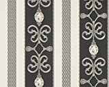 Black and White: Damask Luxury Black Cream Wallpaper Roll, Modern Wall Decor Accent for Tenager's Bedroom, Living Room, Hotel