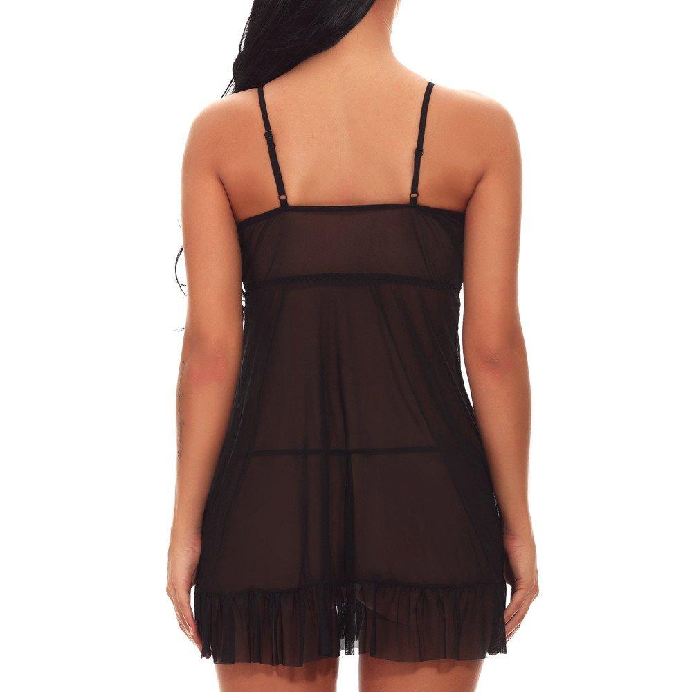 Fashion Women Mini Sleepskirt Girl Sexy Lingerie G-String Underwear Sleepwear (S, Black)
