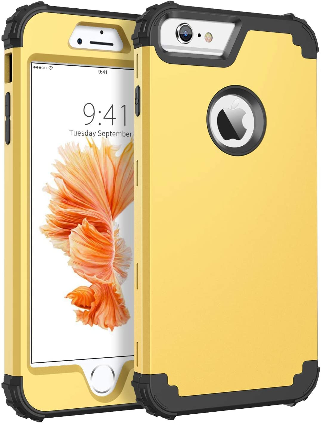 BENTOBEN Case for iPhone 6S Plus/iPhone 6 Plus, 3 in 1 Heavy Duty Rugged Hybrid Hard PC Soft Silicone Bumper Shockproof Anti Slip Protective Case for Apple iPhone 6S Plus/6 Plus (5.5 Inch), Yellow