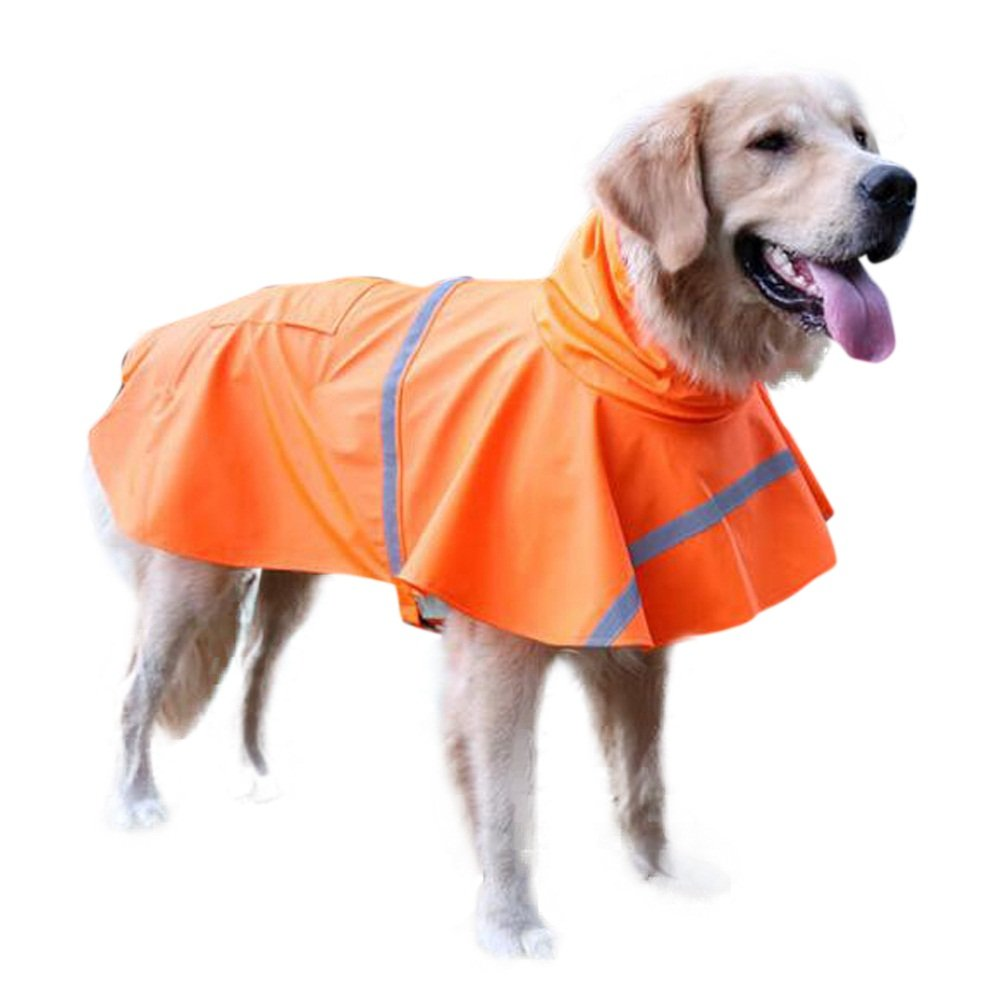 orange S orange S Dog Raincoat Waterproof Clothes for Small Medium Large Dogs,Pet Lightweight Rain Jacket Poncho with Reflective Strip