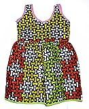 Baby Girls' sleeveless African print dress - 12 months (Pink - Green Bias Tape Lining)