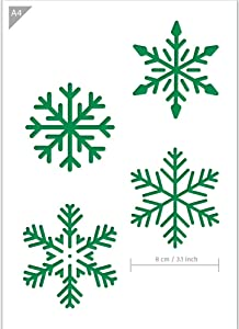 QBIX Snowflakes Stencil - Snow Stencil - Snow Crystals Stencil - A4 Size - Reusable, Kids Friendly, for Painting, Windows, Crafts, Wall, Furniture