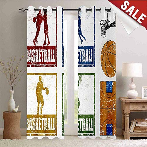 Hengshu Basketball Decorative Curtains for Living Room Collection of Vintage Rubber Stamp Print Illustration Basketball Players Waterproof Window Curtain W72 x L84 Inch Navy Green Red