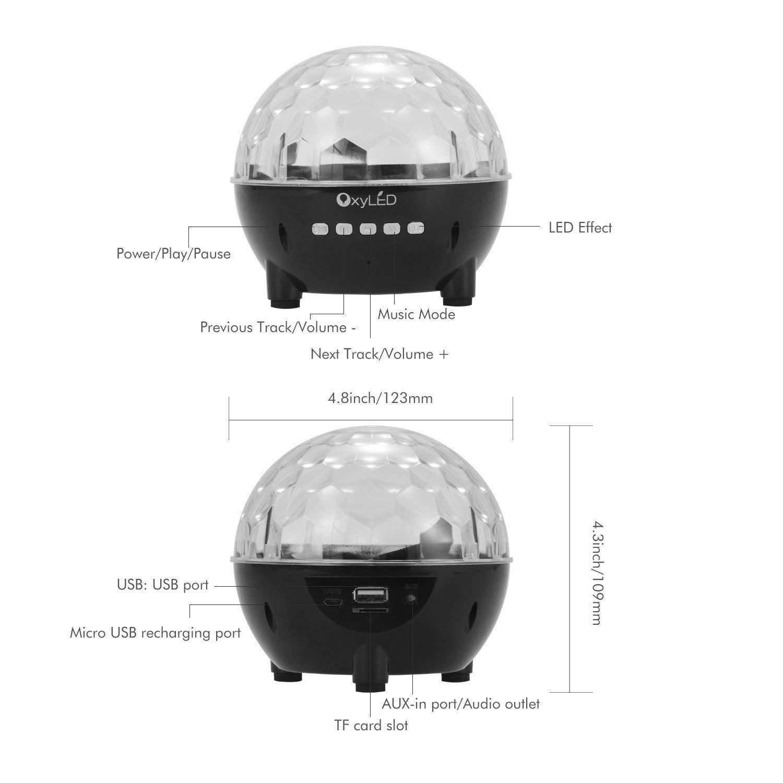 Luces de bola de discoteca, OxyLED 51 luces de luces estroboscópicas que cambian de color, modo de tarjeta Bluetooth/USB/TF con soporte Luces de ...