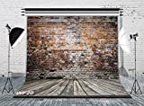LB Vintage Brick Wall Photo Backdrops 8x8ft Poly Fabric Wood Floor Photography Background for Wedding Smash Cake Birthday Party Portraits Photo Booth Backdrop