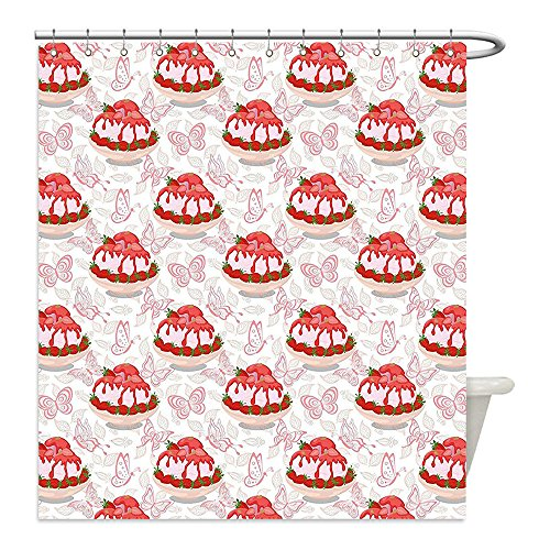Toilet Bowl Costume Video (Liguo88 Custom Waterproof Bathroom Shower Curtain Polyester Pink Sweet Dessert Pattern Ice Cream with Strawberry Sauce in Bowl and Butterflies Pink White and Red Decorative bathroom)