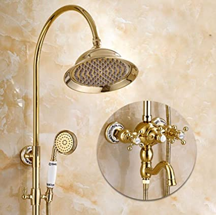 Amazon.com: SJQKA Shower Head All Copper European Style Golden ...