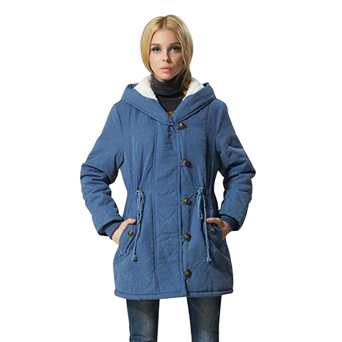 Amazon.com: Kumike Fashion Winter Warm Womens Drawstring Hooded Jacket Lambswool Cotton Coat Parka Thicker Outerwear: Clothing