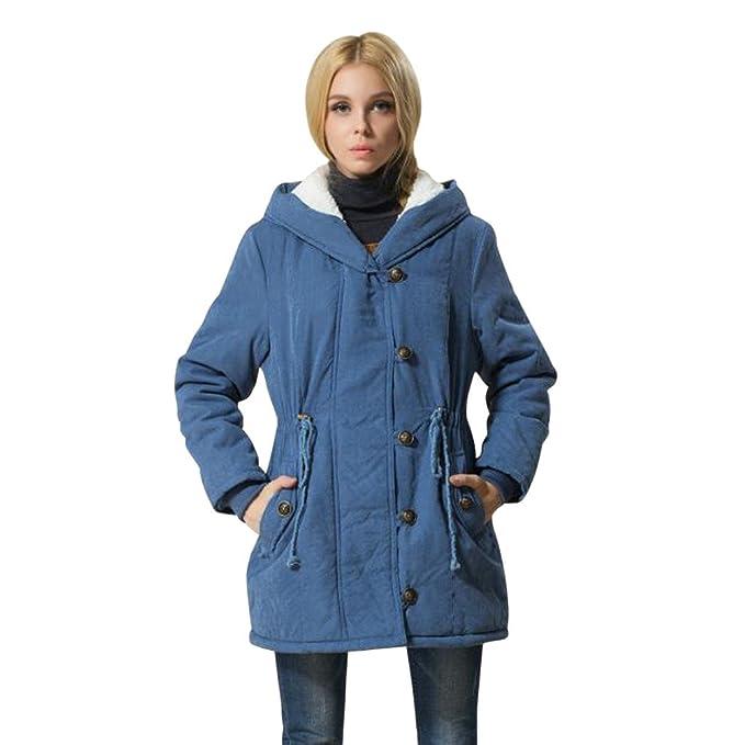 DOGZI Abrigo Mujer Invierno,Tamaño Grande Slim Fit Pelo de Cordero con Capucha Cordón Abrigo