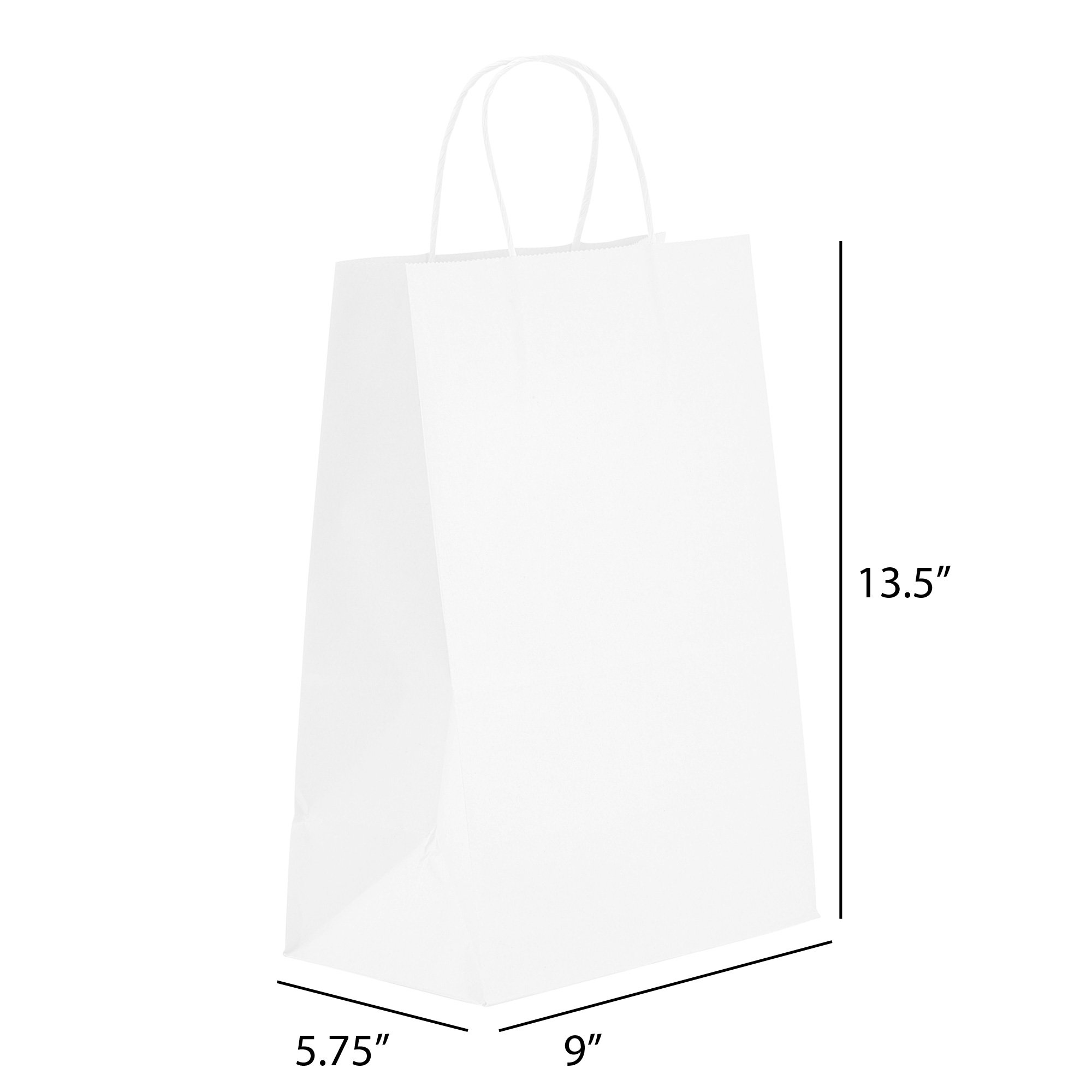 PTP - 9'' x 5.75'' x 13.5'' White Kraft Paper Gift Tote Bags - 250 count   Perfect for Birthdays, Weddings, Holidays and All Occasions   White or Natural Colors   Multiple Sizes