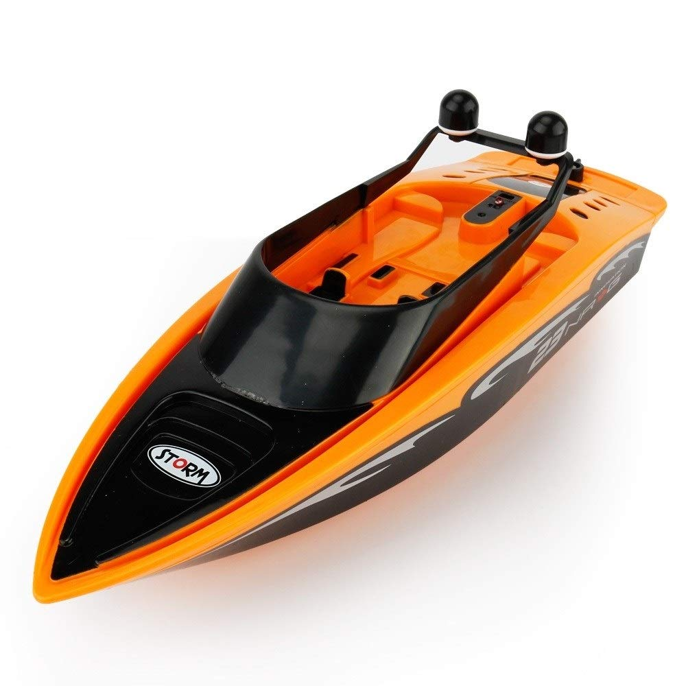 Woote Remote Control Boat, Electric Racing Speedboat 4 Channel Waterproof for Pools and Lakes Summer Children's Water Toy, 2.4GHz RC Racing Boats for Adults and Kids (Color : Orange )