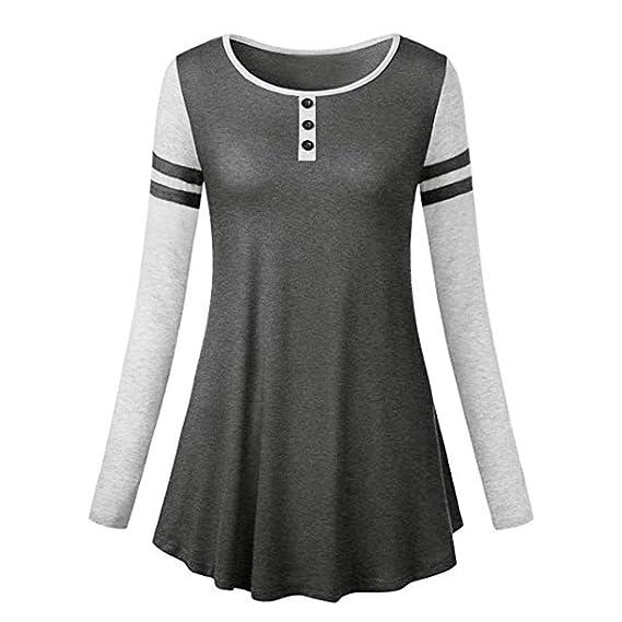 Blusa de Mujer, BaZhaHei, Mujeres Camisetas Las Mujeres Ocasionales del O-Cuello abotonan la Blusa de Manga Larga Floja de Las Camisetas de la impresión ...