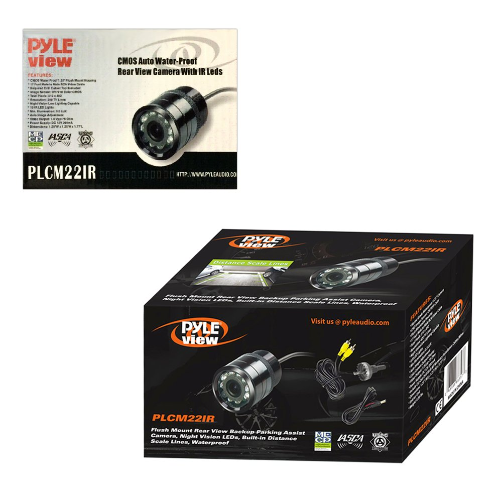 Flush Mount Rear View Camera - Marine Grade Waterproof 1.25'' Cam Built-in Distance Scale Lines Backup Parking/Reverse Assist IR Night Vision LEDs w/ 420 TVL Resolution & RCA Output - Pyle PLCM22IR