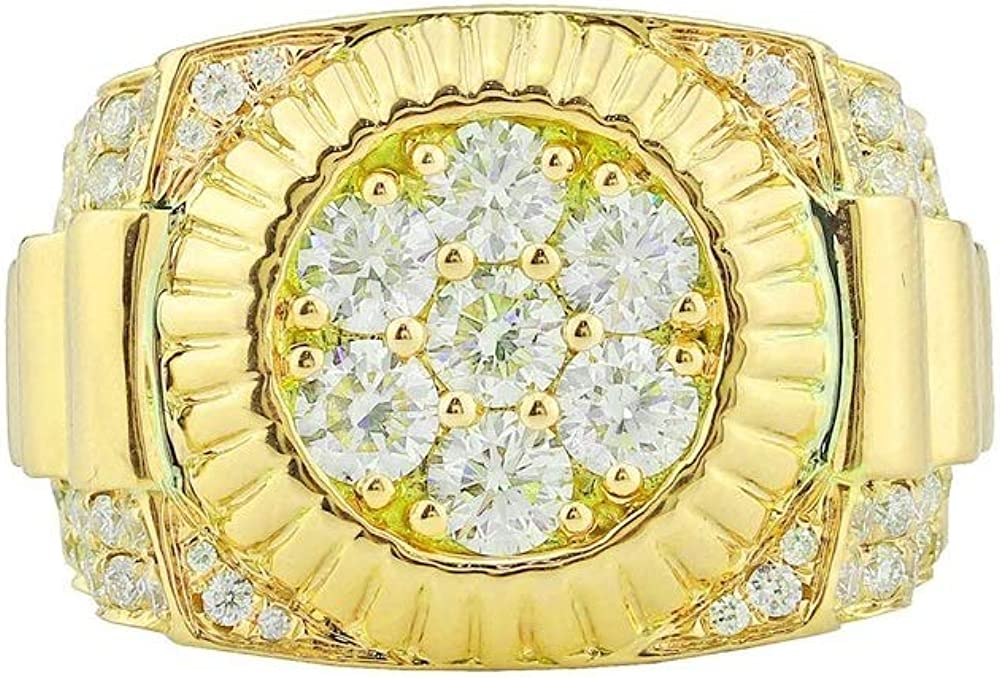 1.20Cts Round Sim Dia Halo Cz Mens Ring in 14k Yellow Gold Plated 14k