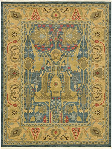 - Unique Loom Sahand Collection Traditional Geometric Classic Navy Blue Area Rug (9' 0 x 12' 0)