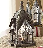 Windale Tealight Lantern Handcrafted of Metal and Textured Glass