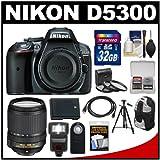 Nikon D5300 Digital SLR Camera Body (Grey) with 18-140mm VR Zoom Lens + 32GB Card + Backpack + Flash + Battery + Tripod Kit, Best Gadgets