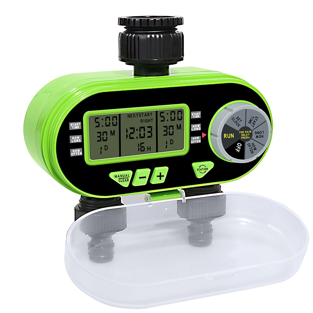 Aqualin Two Outlet Garden Digital Electronic Water Timer 2 Solenoid Valves Irrigation Controller for Garden Yard