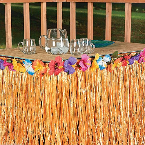 Sc0nni Hawaiian Luau Hibiscus Green & Colorful Silk Faux Flowers Table Hula Grass Skirt for Party Decoration, Events, Birthdays, Celebration, 9' x 29'' by Sc0nni (Image #2)