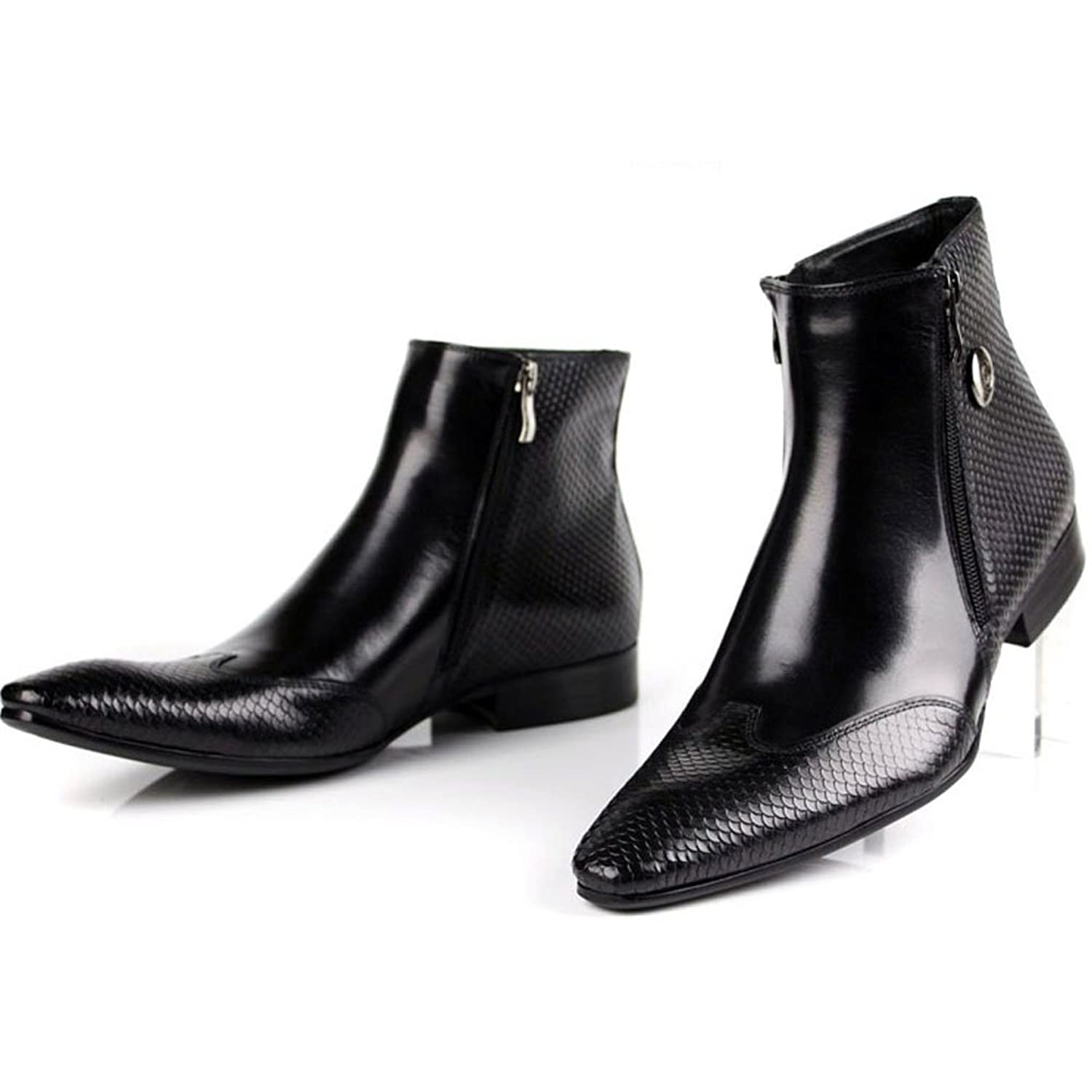 Men's Autumn And Winter Leather Pointed Zipper Waterproof High top Manual Ankle Boots Black