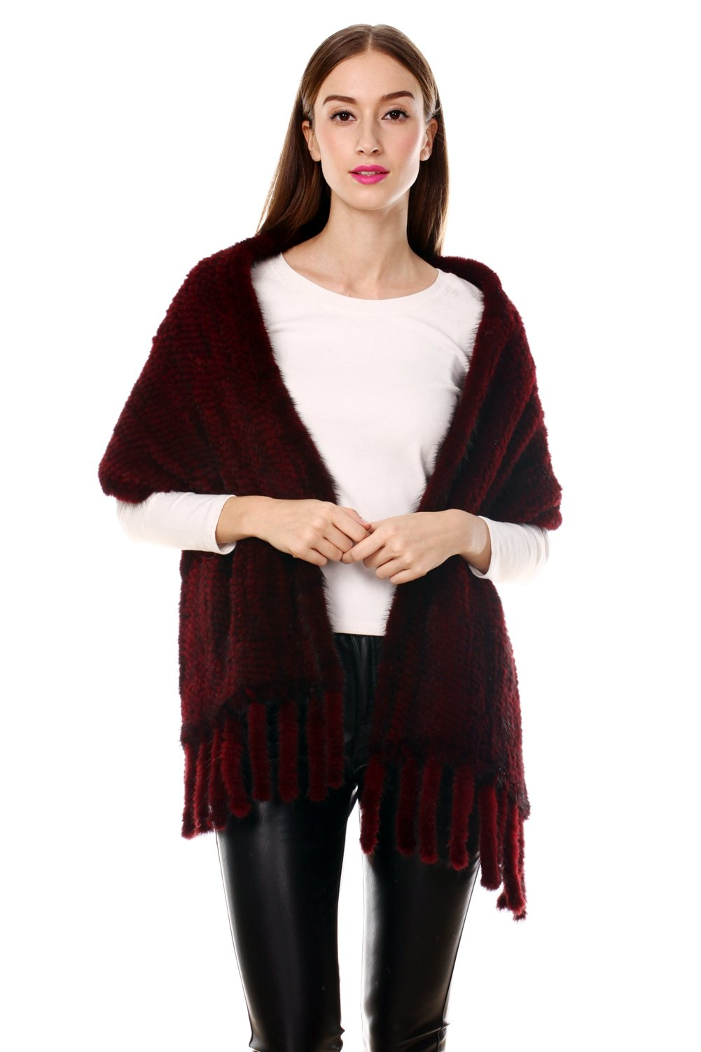 Ferand Lightweight Long Knitted Real Mink Fur Shawl with Tassels and Pockets for Women, Burgundy