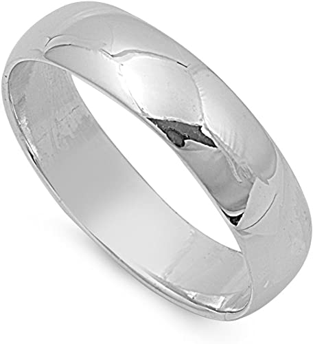 925 Stamped Sterling Silver 5mm Comfort Fit Wedding Ring Band