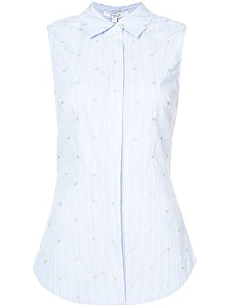 36dcd378c96a30 Derek Lam 10 Crosby Sleeveless Button-Down Shirt With Lace Up Back, Blue,