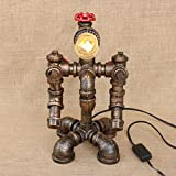 Retro Water Pipe Iron Art LOFT Study Desktop Eye Protection Table lamp/Personality Creative Industrial Wind Bedside Robot Table lamp Size:2031cm