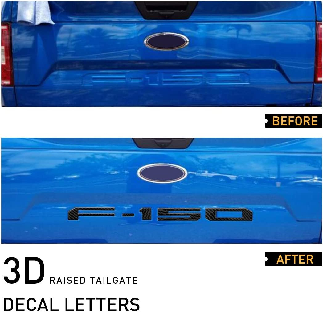 Red UTSAUTO Tailgate Insert Letters for Ford F150 2018-2020 with Adhesive 3D Raised Tailgate Decal Letters Tailgate Insert Decals Letters