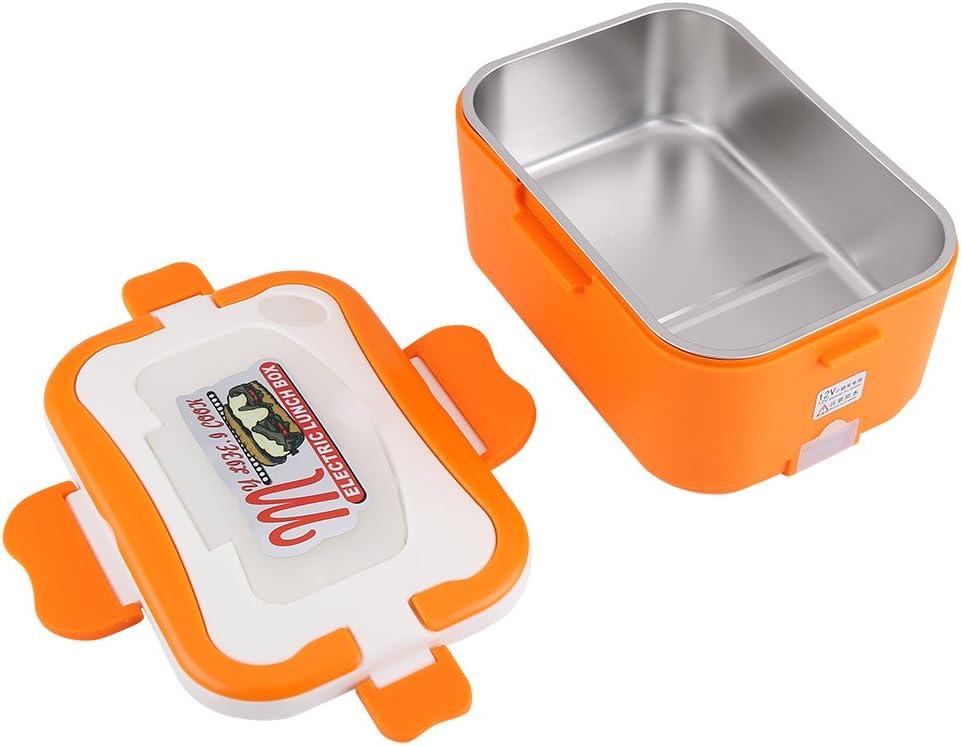 Viaggio Arancione 12V Wifehelper 1.5L Portatile 12V // 24V Auto Portatile Riscaldamento Elettrico Lunch Box Bento Scaldavivande con Manico per la Conservazione di Calore Ufficio Scuola