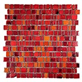 Ice Age Fire Red Rustic Glass Tile - Glass With Hot Red Brick Stone Finish - Perfect for Shower Walls, Kitchen Backsplashes, Floors (Box of 10 Sheets)