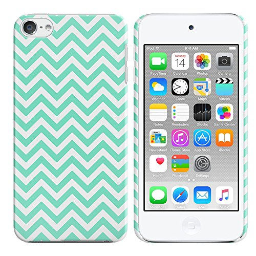 FINCIBO Case Compatible with Apple iPod Touch 5 6th Generation, Back Cover Hard Plastic Protector Case Stylish Design for iPod Touch 5 6 - Teal Mini Chevron (Ipod 5 Color Gray Case)