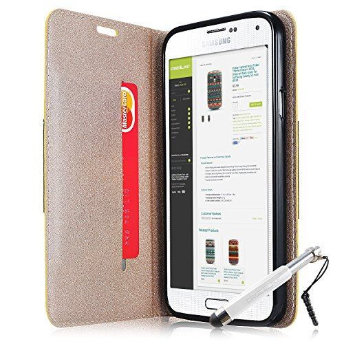 CaseiLike ® Gold, luxe métallisé PU cuir 9918, aimant portefeuille carte de crédit titulaire Flip Etui Housse pour Samsung Galaxy S5 i9600 i9605 + protecteur d'écran + stylets rétractables (couleur al