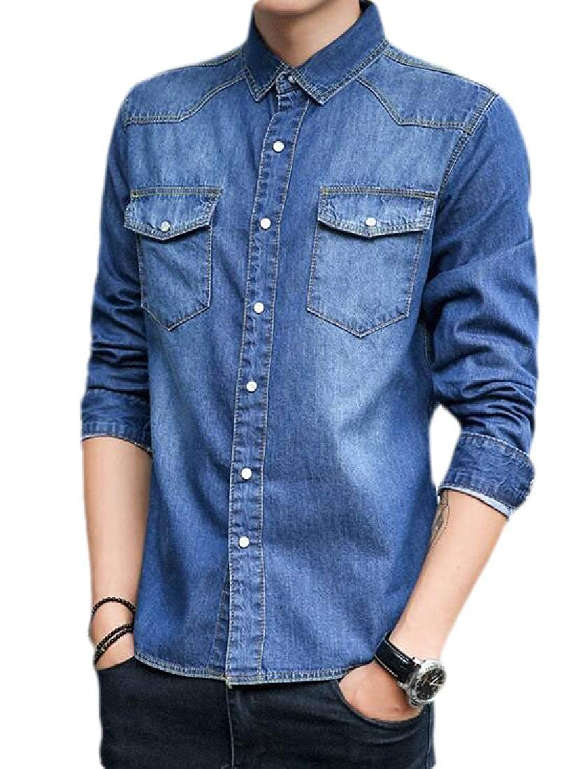 Jofemuho Mens Long Sleeve Chest Pocket Basic Denim Button Down Cotton Shirts