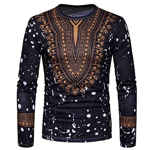 Joint Men's Blouse Casual African Print O Neck Pullover Long Sleeved T-Shirt Top (Black, XXL)