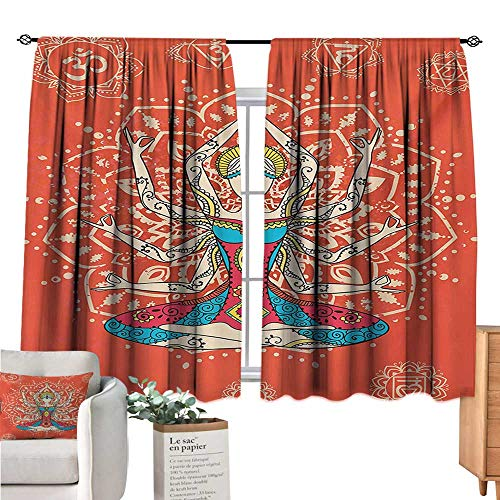 (Warm Family Yoga Black Out Window Curtain Yoga Technique with Ethnic Costume Zen Discipline Your Body and Mind Artprint Cream Red Teal Drapes Panels W55 x)