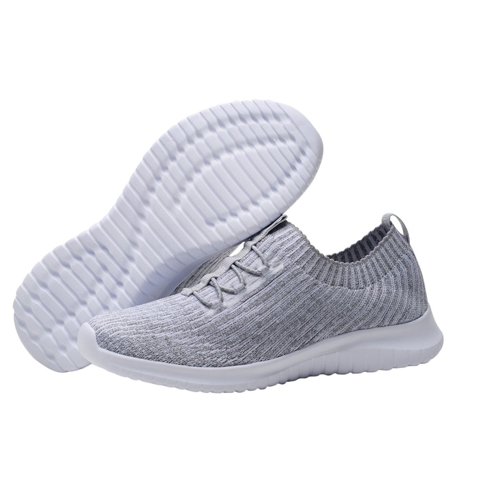 KONHILL Women's Lightweight Athletic Running Shoes Walking Casual Sports Knit Workout Sneakers B07B3NJ9LJ 8.5 B(M) US|2122 L.gray