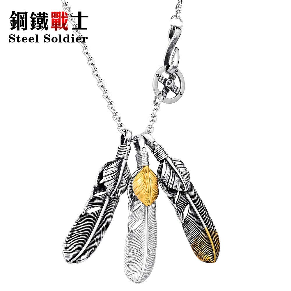 Davitu Steel Soldier 3D exqusite Feather Pendant for Men and Women Stainless Steel Fashion Feather Jewelry Metal Color: Steel with Chain