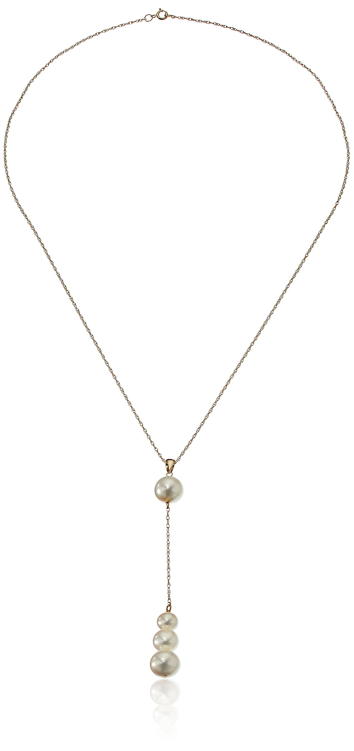 14k Yellow Gold Chain with Graduated 6-9mm White Freshwater Cultured Pearl Y-Shaped Necklace, 18''