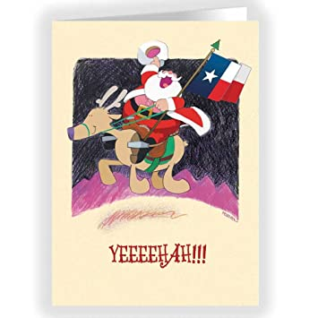 Texas Christmas Cards.Yeeeehah Texas Christmas Card 18 Cards And Envelopes