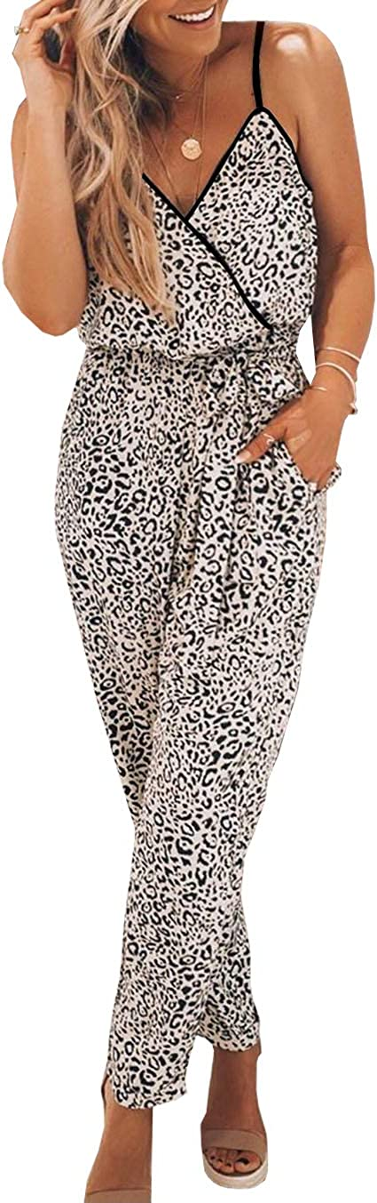 PRETTYGARDEN Women's Sexy Wrap V Neck Leopard Print Spaghetti Strap Long Pants Jumpsuits Rompers with Pockets