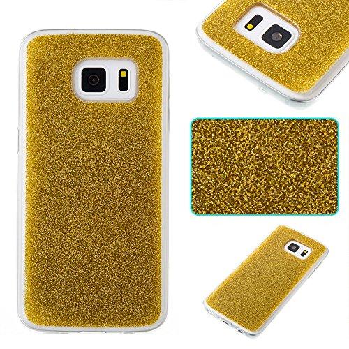 SRY-Funda móvil Samsung Cubierta protectora de la contraportada de Samsung TPU Sparkling para la galaxia S7 de Samsung ( Color : Gold ) Gold