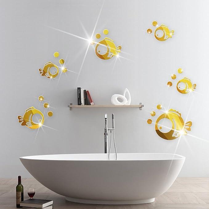 Pegatinas peces burbujas doradas acrilico vinilo efecto espejo ...