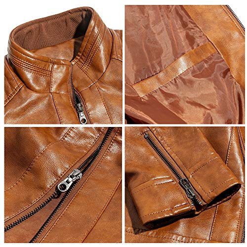 WULFUL Men's Stand Collar Leather Jacket Motorcycle Lightweight Faux Leather Outwear