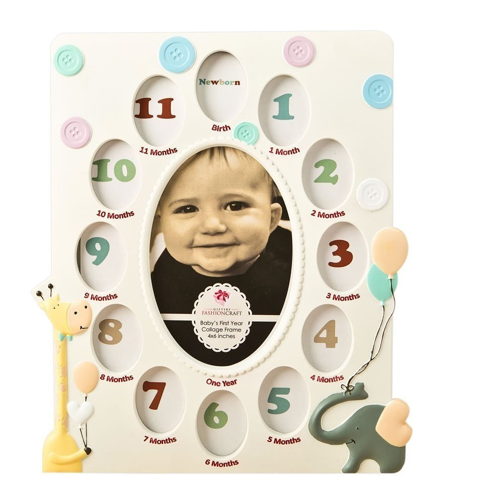 Amazon.com - Giraffe and Elephant BABY\'S First YEAR - Collage PHOTO ...